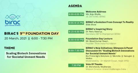 BIRAC's 9th Foundation Day 20th March 2021